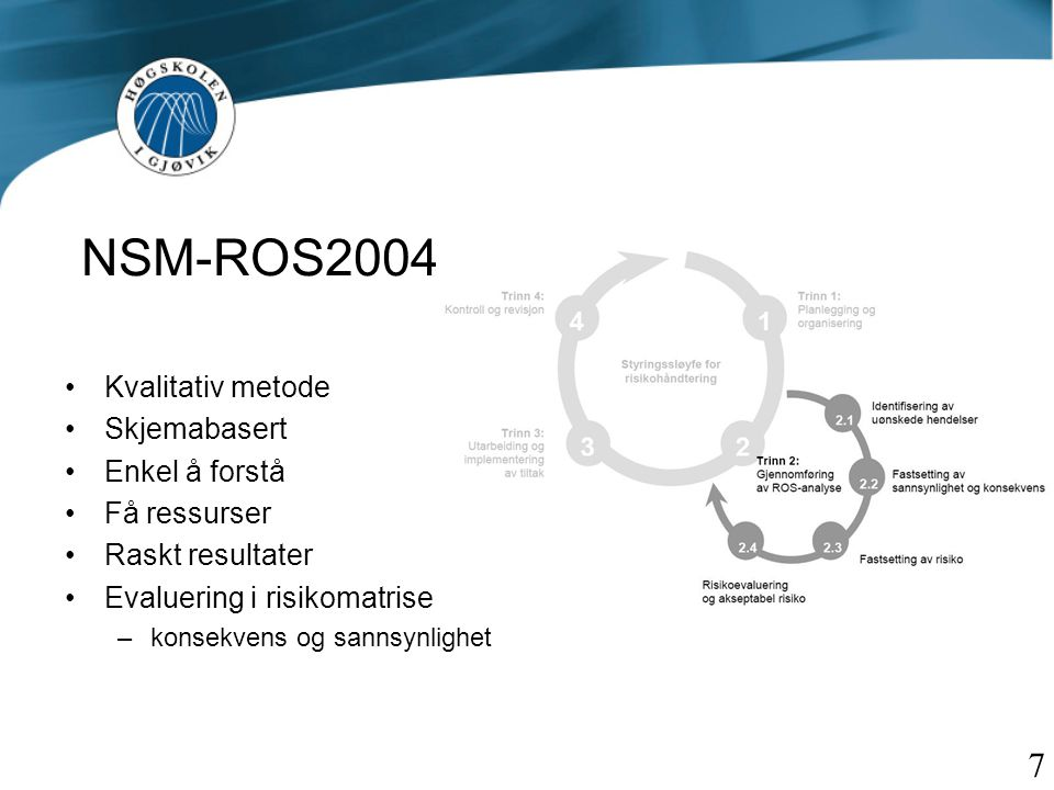 NSM-ROS2004 7 Kvalitativ metode Skjemabasert Enkel å forstå