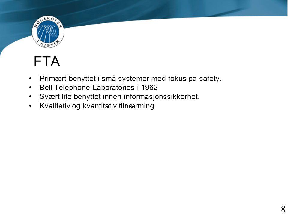 FTA 8 Primært benyttet i små systemer med fokus på safety.