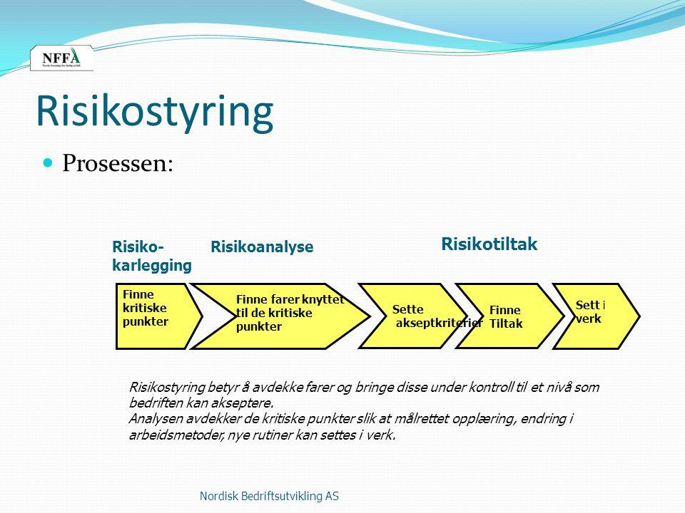 Risikostyring Prosessen: Risikotiltak Risiko- Risikoanalyse karlegging