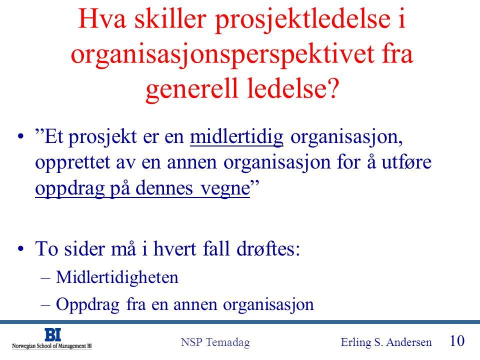 Hva skiller prosjektledelse i organisasjonsperspektivet fra generell ledelse