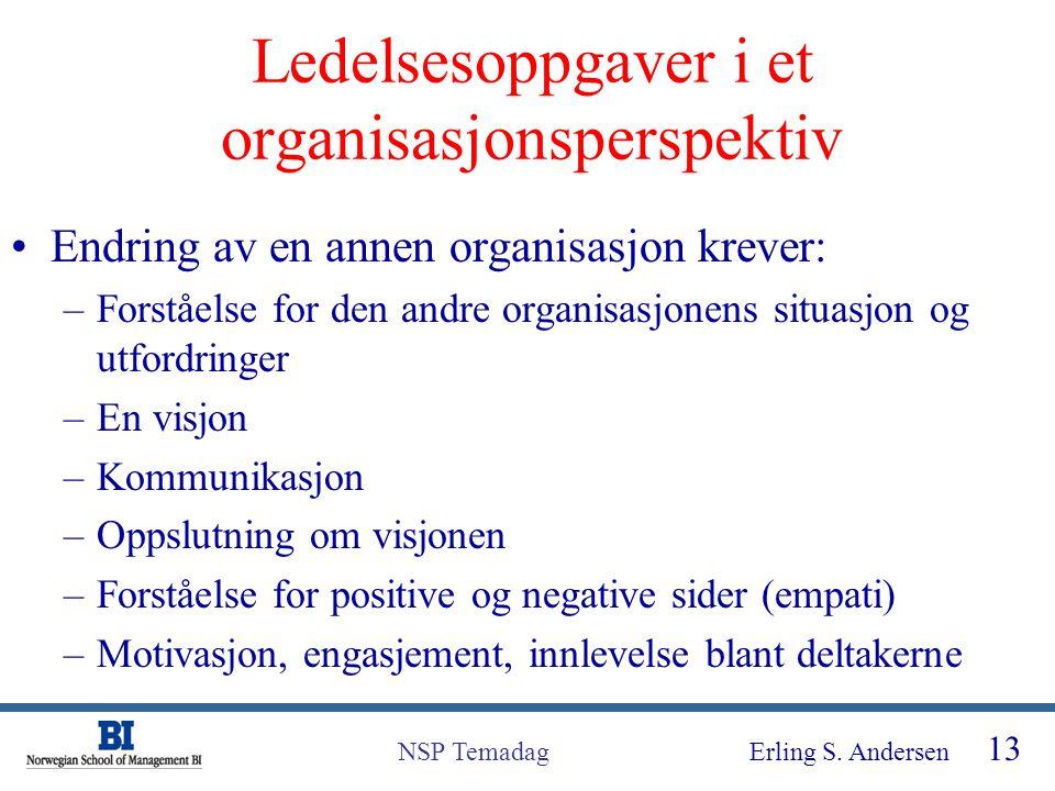 Ledelsesoppgaver i et organisasjonsperspektiv