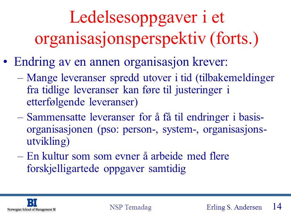 Ledelsesoppgaver i et organisasjonsperspektiv (forts.)