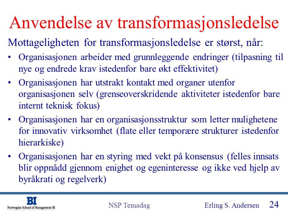 Anvendelse av transformasjonsledelse