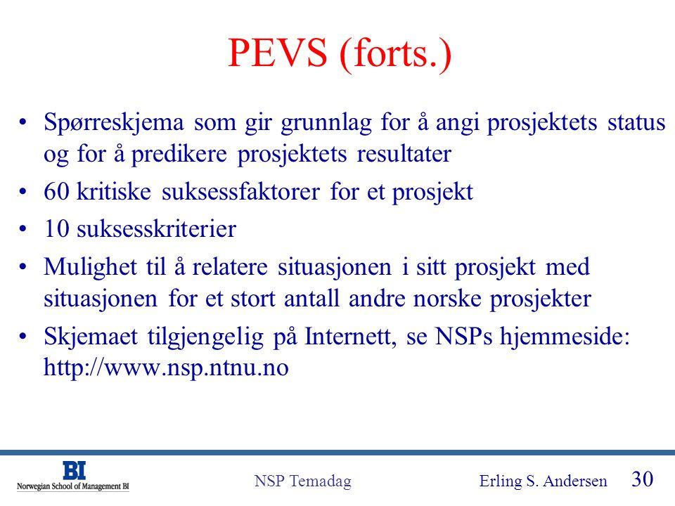 PEVS (forts.) Spørreskjema som gir grunnlag for å angi prosjektets status og for å predikere prosjektets resultater.