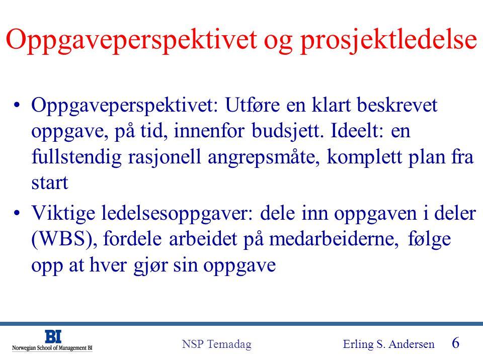 Oppgaveperspektivet og prosjektledelse