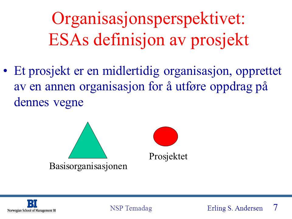 Organisasjonsperspektivet: ESAs definisjon av prosjekt