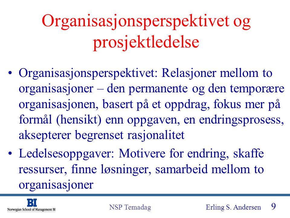 Organisasjonsperspektivet og prosjektledelse
