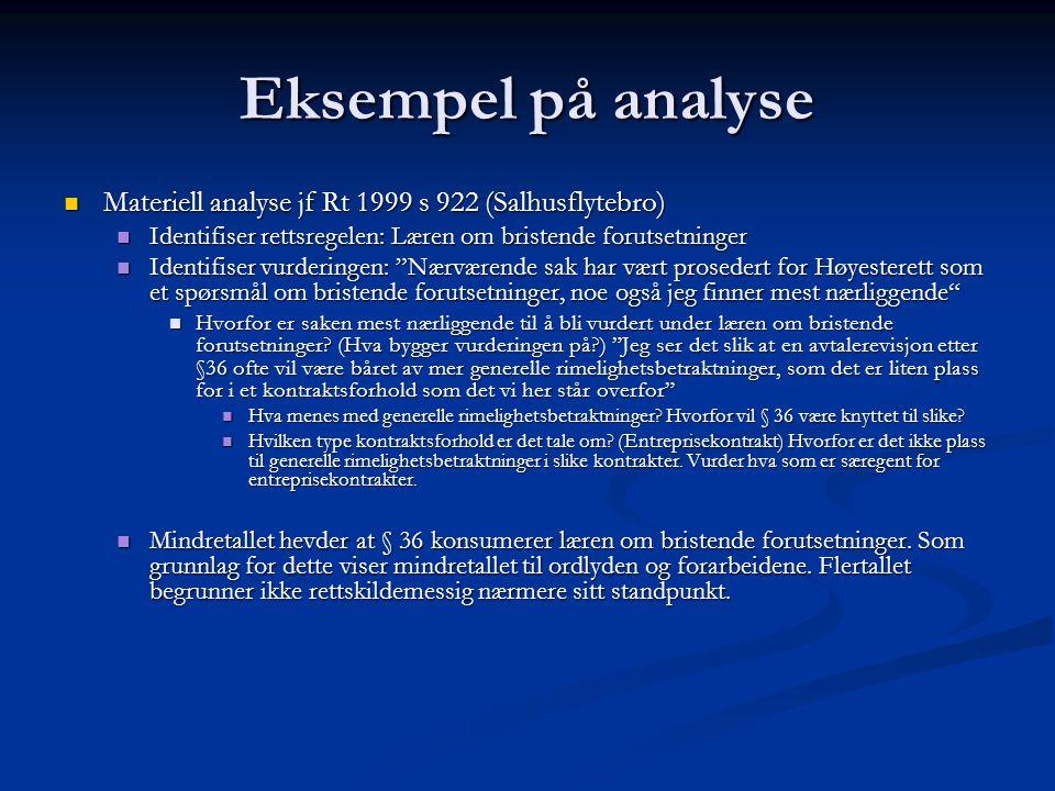 Eksempel på analyse Materiell analyse jf Rt 1999 s 922 (Salhusflytebro) Identifiser rettsregelen: Læren om bristende forutsetninger.