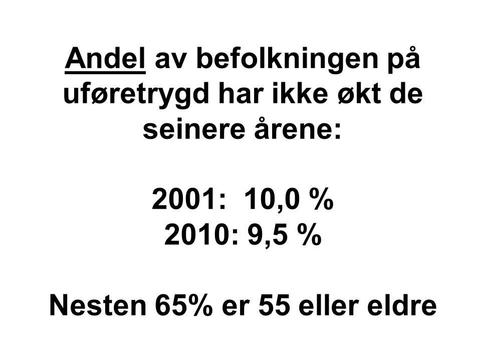 Andel av befolkningen på uføretrygd har ikke økt de seinere årene: 2001: 10,0 % 2010: 9,5 % Nesten 65% er 55 eller eldre