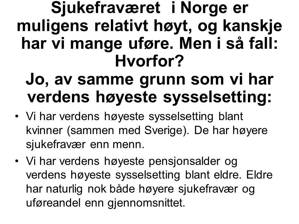 Sjukefraværet i Norge er muligens relativt høyt, og kanskje har vi mange uføre. Men i så fall: Hvorfor Jo, av samme grunn som vi har verdens høyeste sysselsetting: