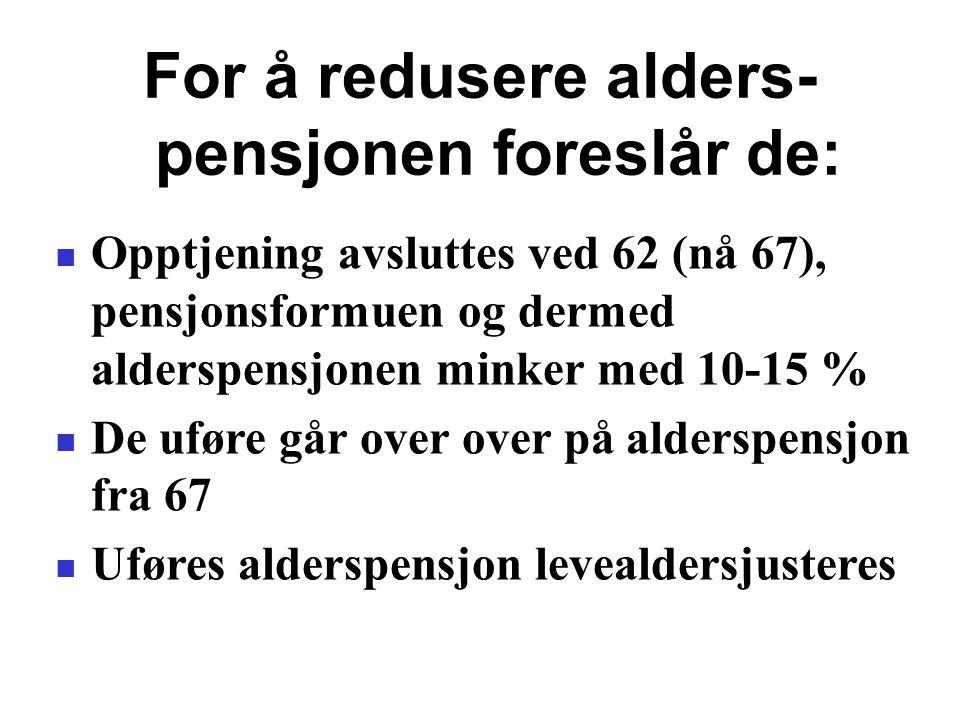 For å redusere alders-pensjonen foreslår de: