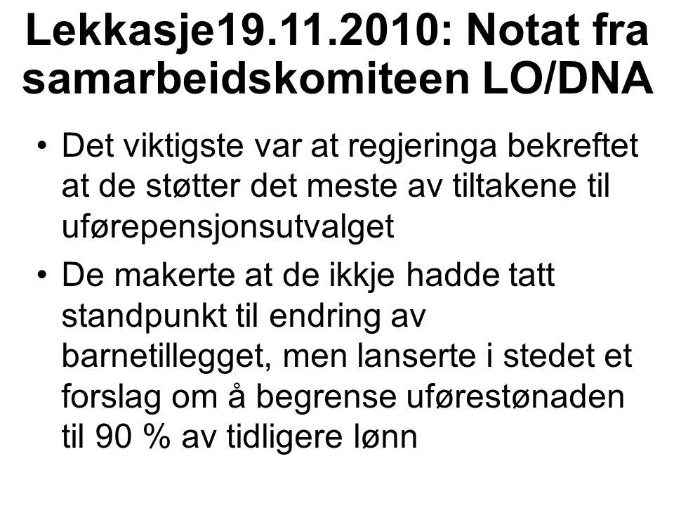 Lekkasje19.11.2010: Notat fra samarbeidskomiteen LO/DNA