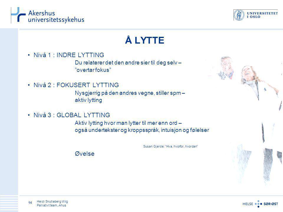 Å LYTTE Nivå 1 : INDRE LYTTING Nivå 2 : FOKUSERT LYTTING