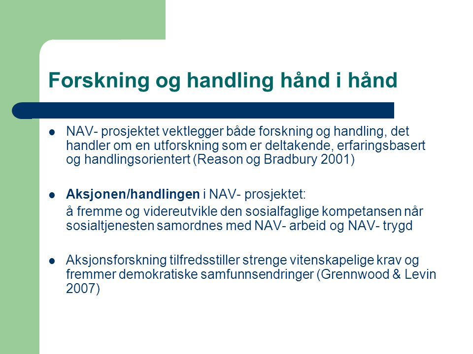 Forskning og handling hånd i hånd