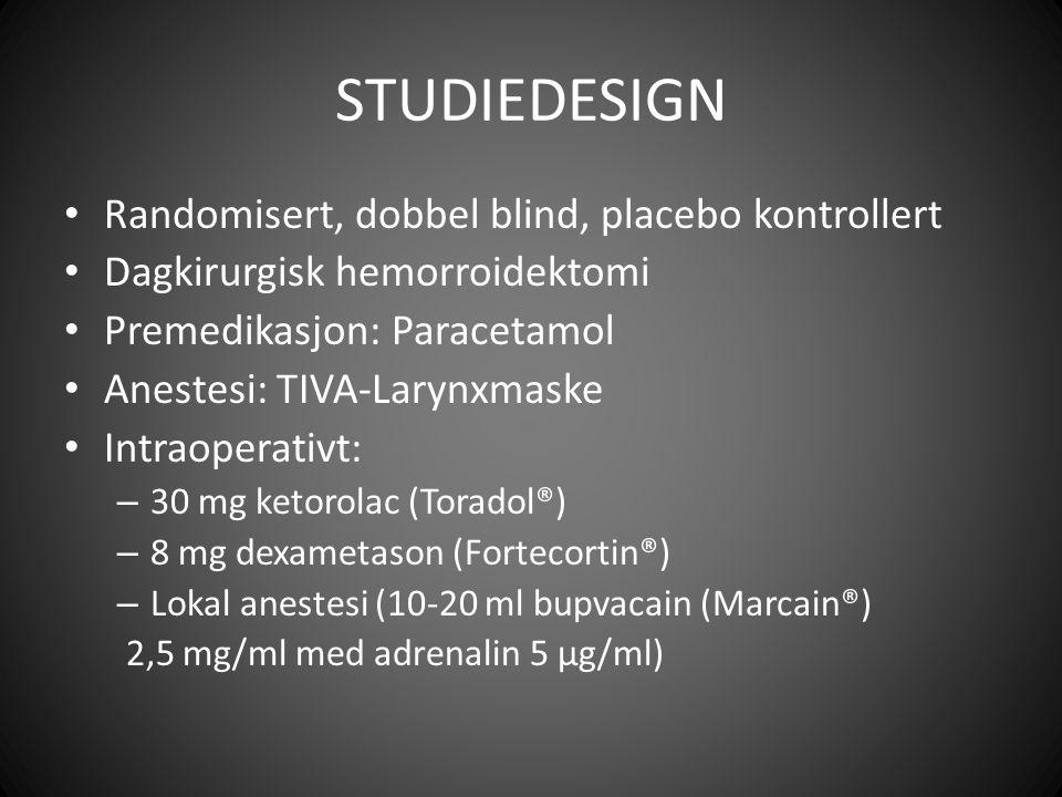 STUDIEDESIGN Randomisert, dobbel blind, placebo kontrollert