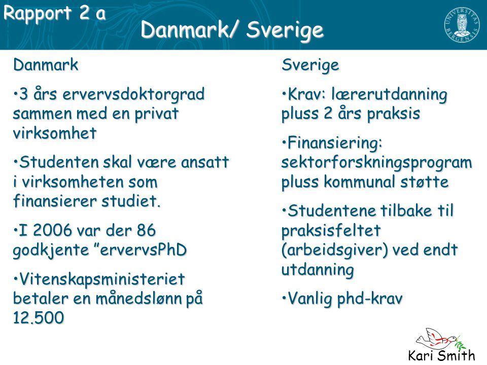 Danmark/ Sverige Rapport 2 a Danmark