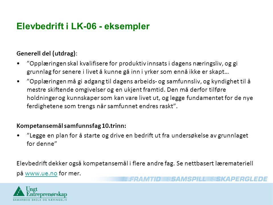 Elevbedrift i LK-06 - eksempler