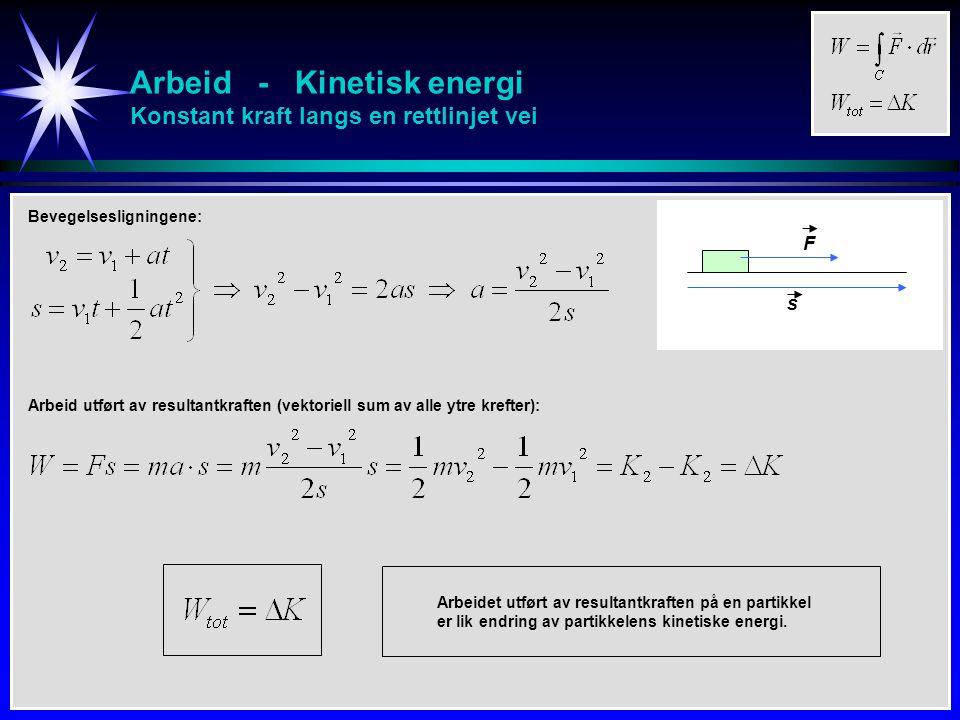 Arbeid - Kinetisk energi Konstant kraft langs en rettlinjet vei