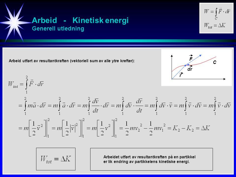 Arbeid - Kinetisk energi Generell utledning