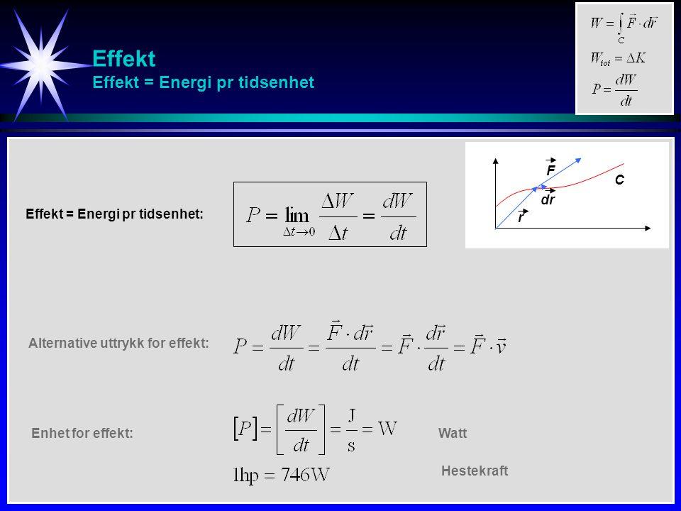 Effekt Effekt = Energi pr tidsenhet