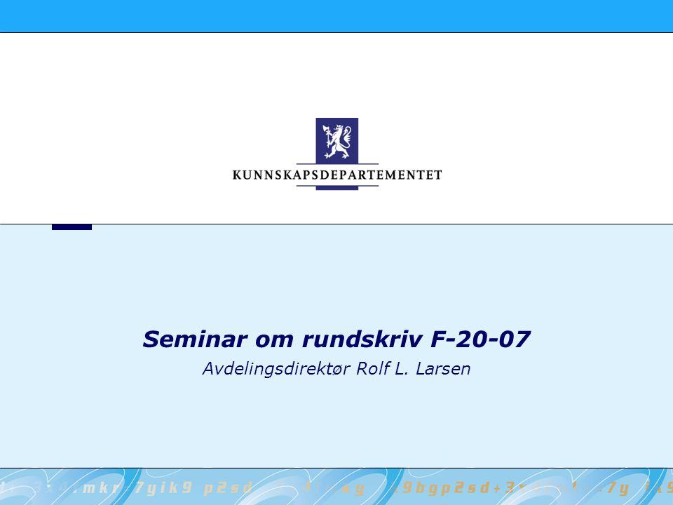 Seminar om rundskriv F-20-07