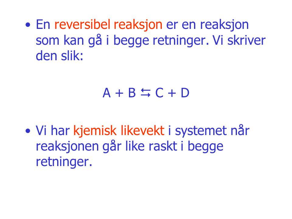 En reversibel reaksjon er en reaksjon som kan gå i begge retninger