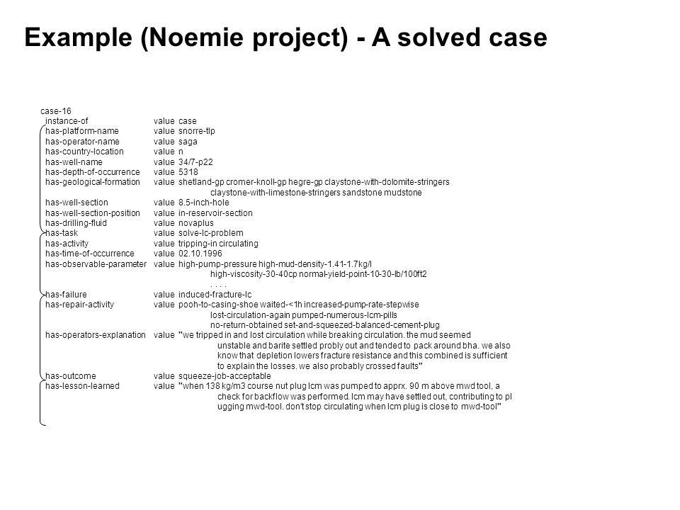 Example (Noemie project) - A solved case