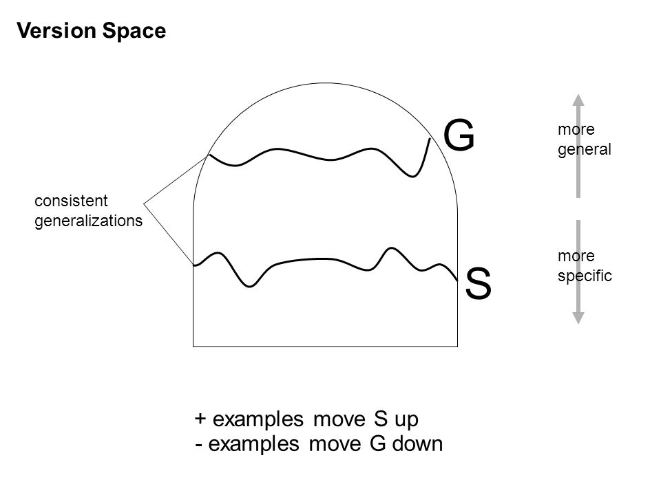 G S Version Space + examples move S up - examples move G down more