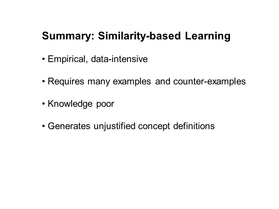 Summary: Similarity-based Learning