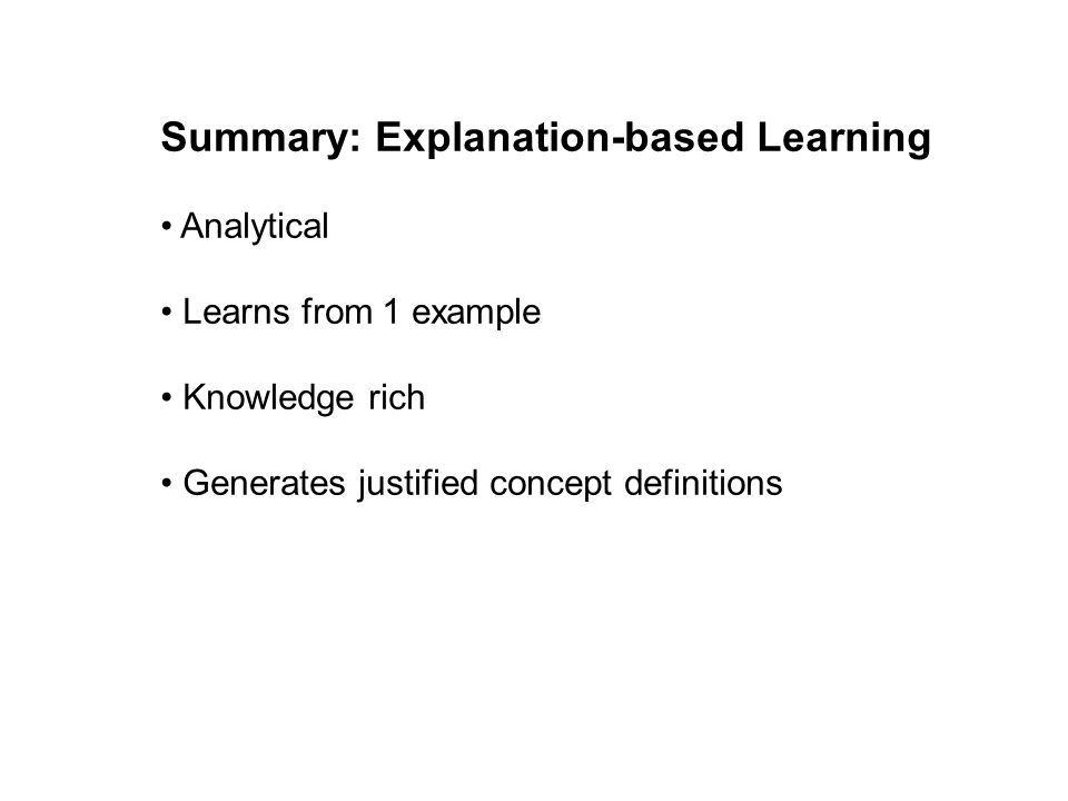 Summary: Explanation-based Learning
