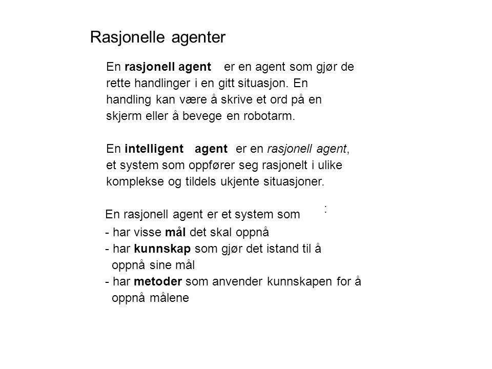 Rasjonelle agenter En rasjonell agent er en agent som gjør de