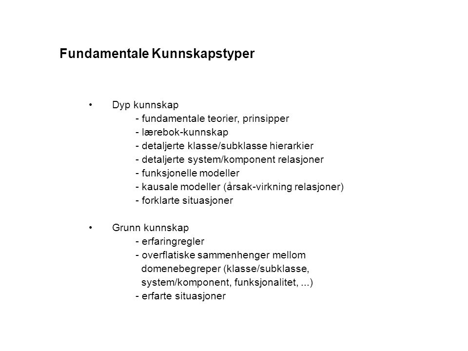 Fundamentale Kunnskapstyper