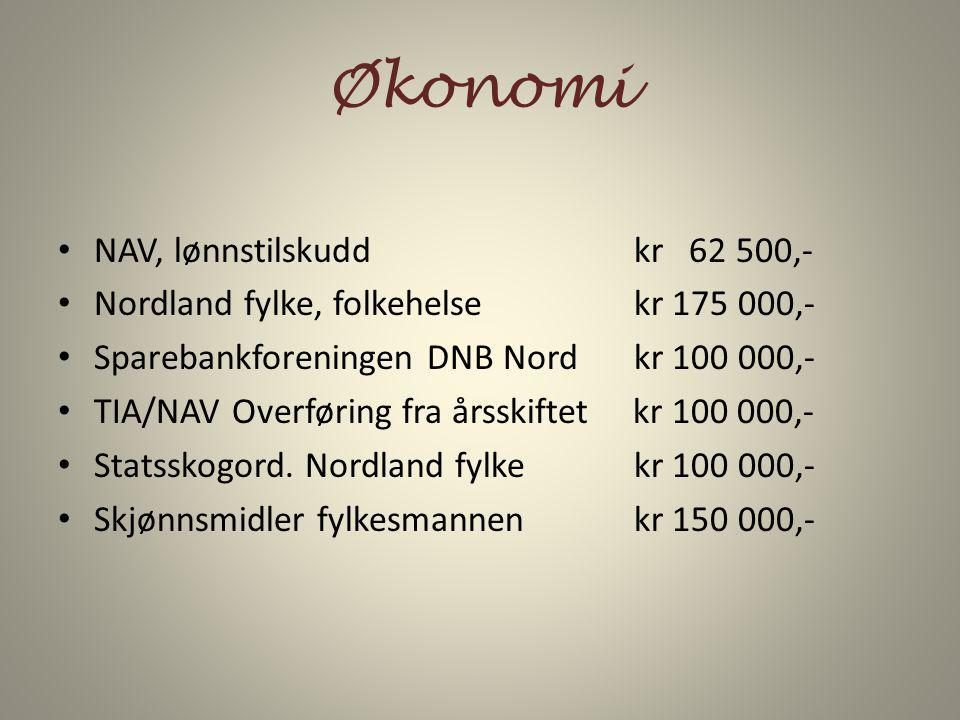 Økonomi NAV, lønnstilskudd kr 62 500,-