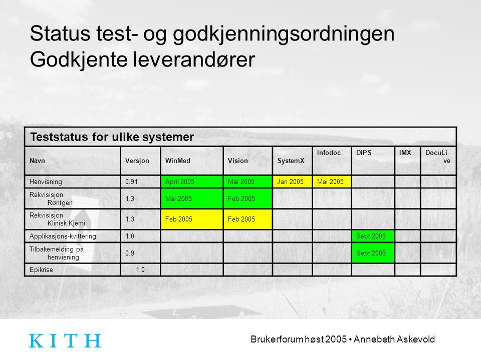 Status test- og godkjenningsordningen Godkjente leverandører