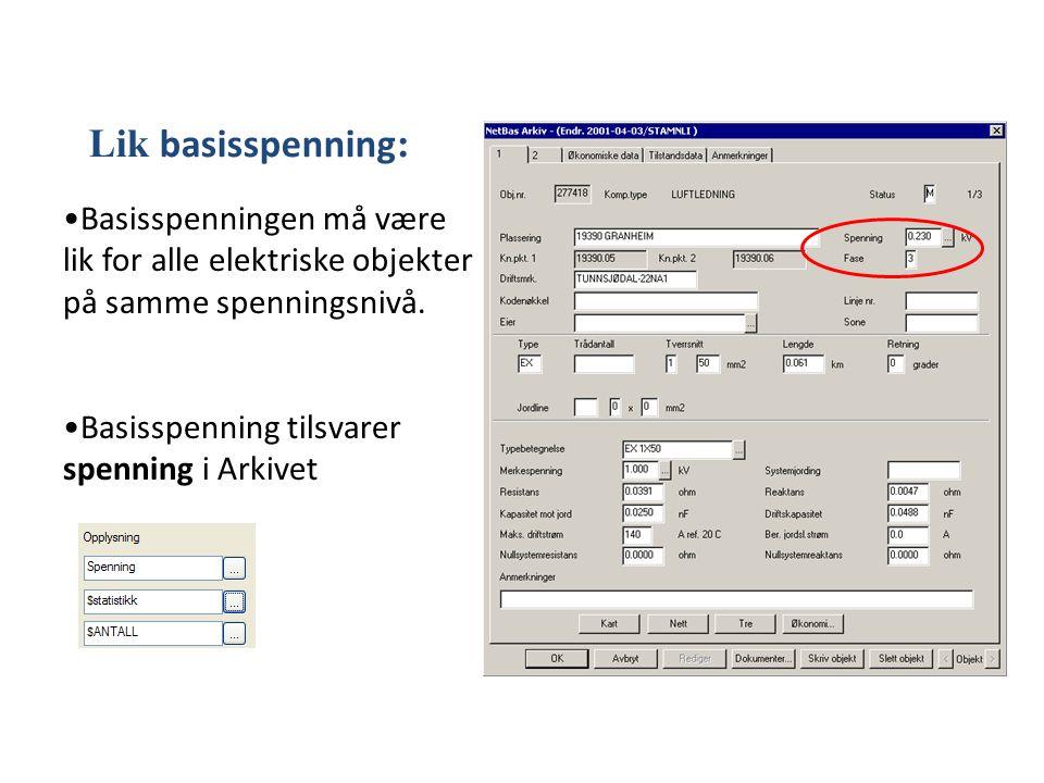 Lik basisspenning: Basisspenningen må være lik for alle elektriske objekter på samme spenningsnivå.