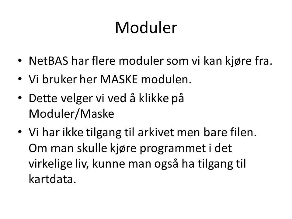 Moduler NetBAS har flere moduler som vi kan kjøre fra.