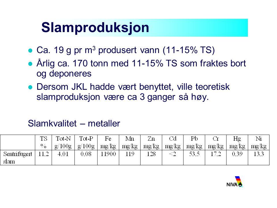 Slamproduksjon Ca. 19 g pr m3 produsert vann (11-15% TS)