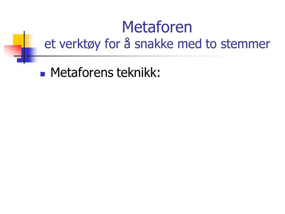 Metaforen et verktøy for å snakke med to stemmer
