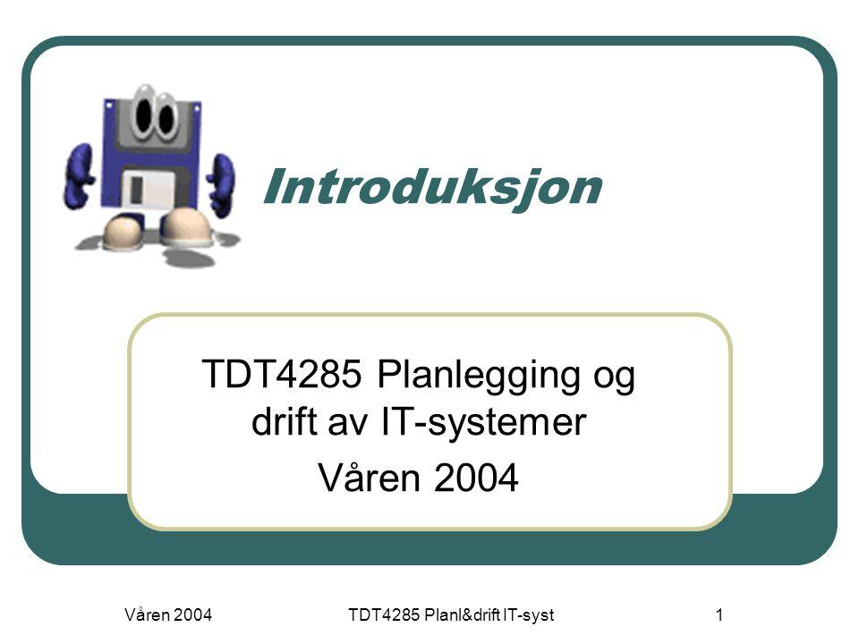 TDT4285 Planlegging og drift av IT-systemer Våren 2004