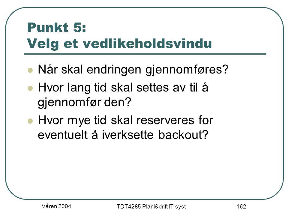 Punkt 5: Velg et vedlikeholdsvindu