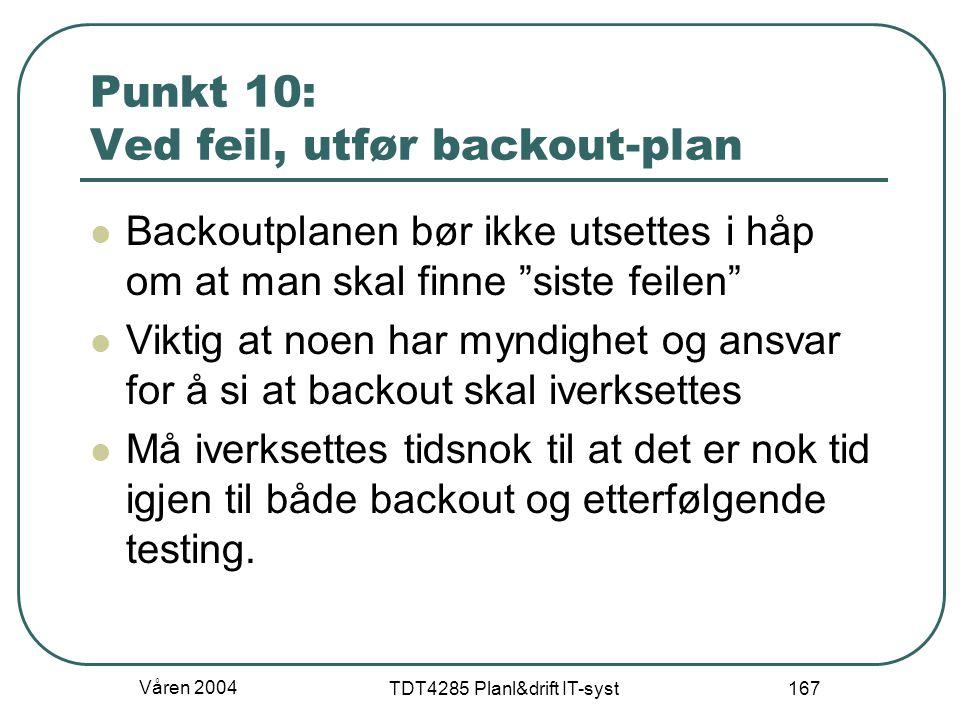 Punkt 10: Ved feil, utfør backout-plan