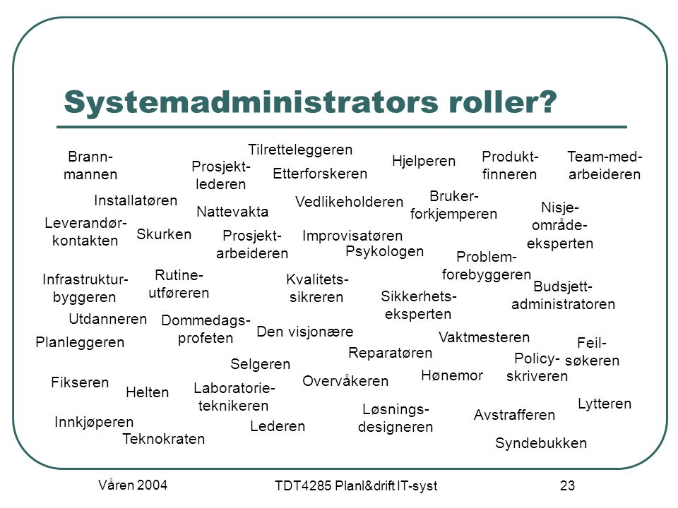 Systemadministrators roller