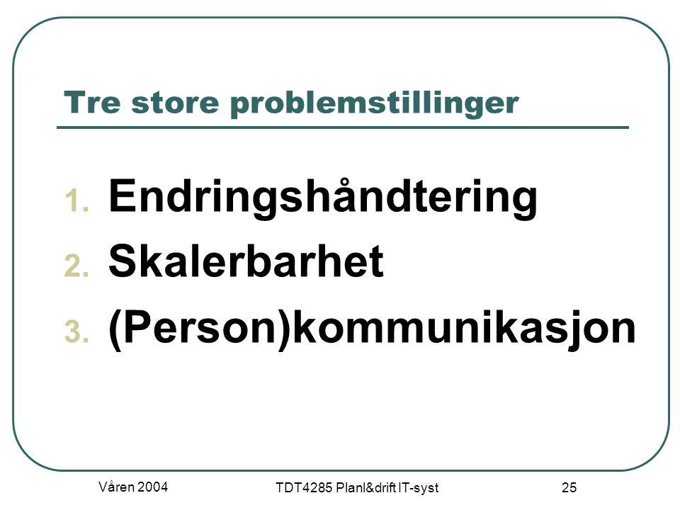 Tre store problemstillinger