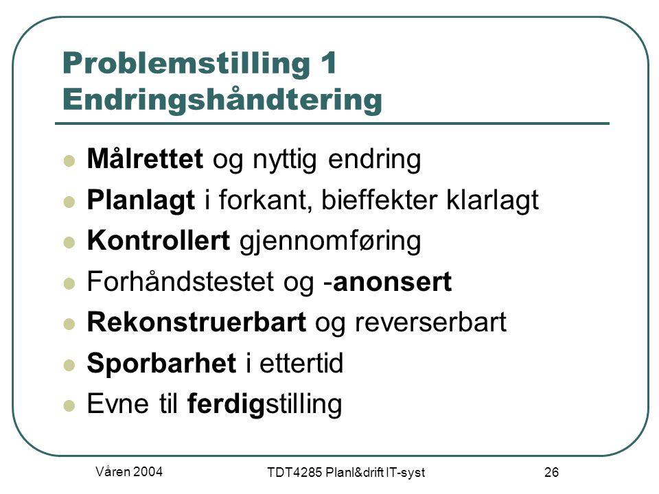 Problemstilling 1 Endringshåndtering