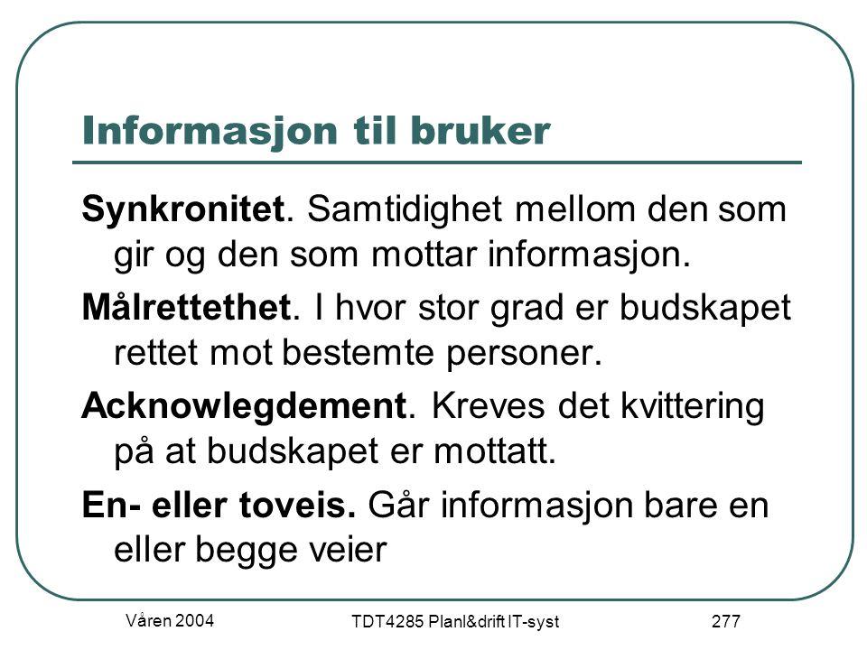 Informasjon til bruker