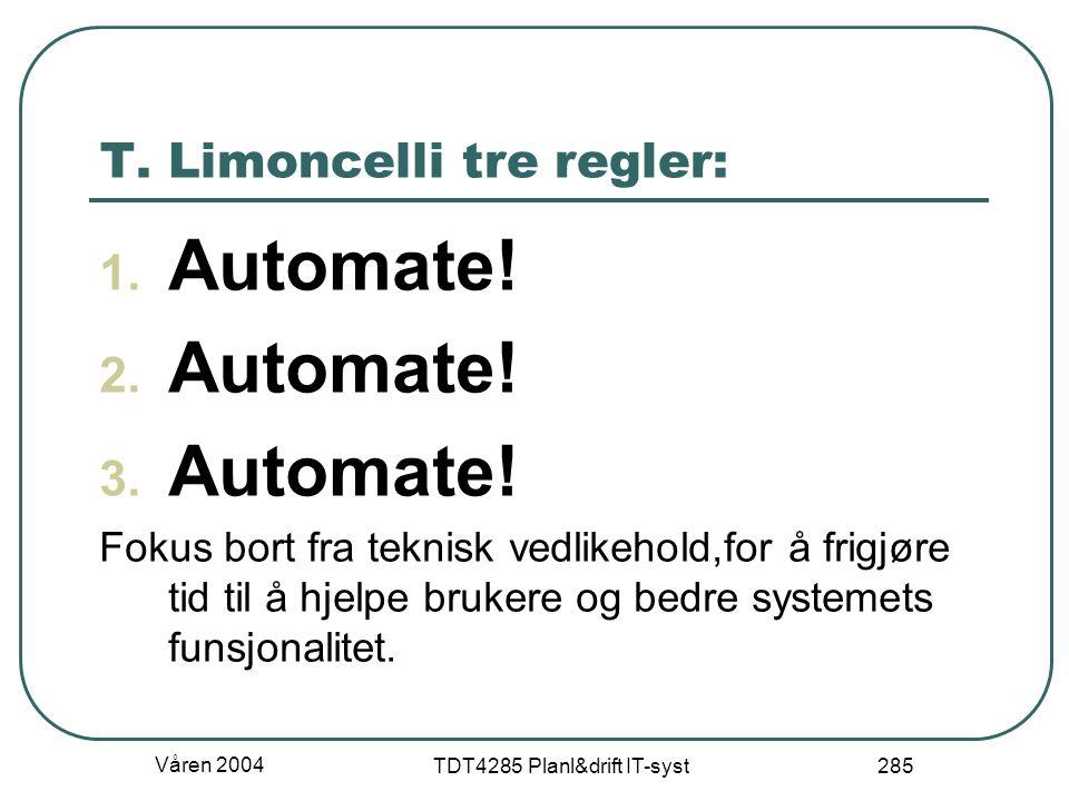T. Limoncelli tre regler:
