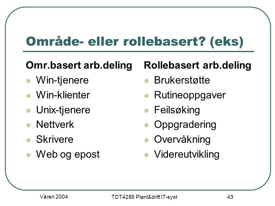 Område- eller rollebasert (eks)