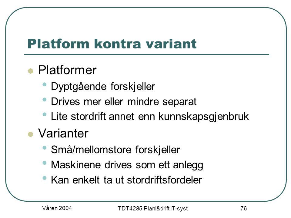 Platform kontra variant