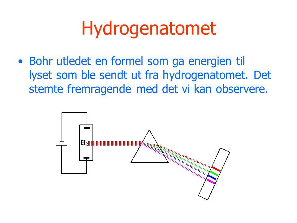 Hydrogenatomet Bohr utledet en formel som ga energien til lyset som ble sendt ut fra hydrogenatomet.