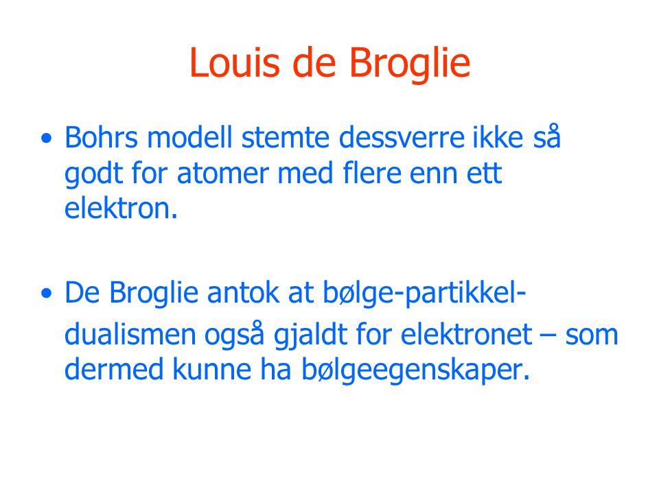 Louis de Broglie Bohrs modell stemte dessverre ikke så godt for atomer med flere enn ett elektron. De Broglie antok at bølge-partikkel-